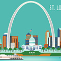 St. Louis Missouri Horizontal Skyline by Karen Young
