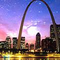 St Louis Skyline As Night Falls by Rod Jellison