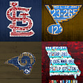 St Louis Sports Fan Recycled Vintage Missouri License Plate Art Cardinals Blues Rams by Design Turnpike