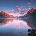 St Mary Lake In Early Morning With Moon by William Freebilly photography