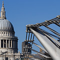 St Pauls Cathedral And The Millenium Bridge  by David Pyatt