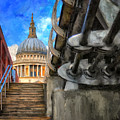 St. Paul's Cathedral And The Millennium Bridge by Lois Bryan