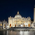 St Peters Basilica At Night Panorama by Songquan Deng