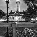 St. Simons Lighthouse Black And White by Debra and Dave Vanderlaan