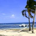 St Thomas Beach Hamocks And Boats Iggys by Charlene Cox