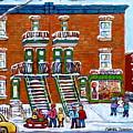 St Urbain And Bagg Montreal Winter Fun Montreal Memories Vintage Corner Store Carole Spandau         by Carole Spandau