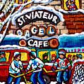 St Viateur  Bagel Cafe Monkland Streetscenemontreal Winter Hockey Art Canadian Painting C Spandau by Carole Spandau