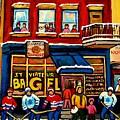 St. Viateur Bagel Hockey Practice by Carole Spandau