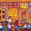 St Viateur Bagel Shop Montreal Art Kids And Bagels Hockey Fun C Spandau Canadian City Scene Painting by Carole Spandau