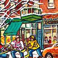 St Viateur Bagel Winterscene Painting For Sale Montreal Art Canadian Artist C Spanddau City Scenes   by Carole Spandau