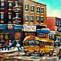 St. Viateur Bagel With Hockey Bus  by Carole Spandau