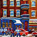 St Viateur Bagel With Hockey Montreal Winter Street Scene by Carole Spandau