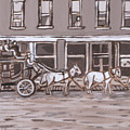 Stagecoach In Saratoga Historical Vignette by Dawn Senior-Trask