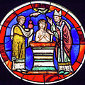 Stained Glass - Baptism - Musee De Cluny by Edward Burchnall