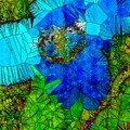 Stained Glass Blue Poppy One by Mo Barton