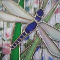 Stained Glass Dragonfly In Reeds By Karen J Jones by Karen Jane Jones