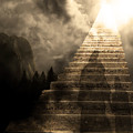 Stairway To Heaven V2 Sepia by Wingsdomain Art and Photography