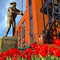 Stan Musial Statue On Opening Day  by Debbie Fenelon