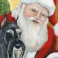 Standard Schnauzer And Santa by Charlotte Yealey