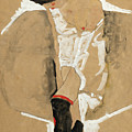 Standing Female In Shirt With Black Stockings And Red Scarf by Egon Schiele
