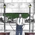 Standing On A Corner In Asheville Carolina by John Haldane