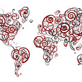 Stanford University Colors Swirl Map Of The World Atlas by Jurq Studio