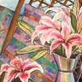 Star Lilies In The Studio by Deborah Carroll