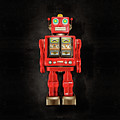Star Strider Robot Red On Black by YoPedro