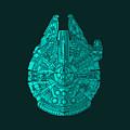 Star Wars Art - Millennium Falcon - Blue 02 by Studio Grafiikka