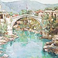 Stari Most Bridge Over The Neretva River In Mostar Bosnia Herzegovina by Joseph Hendrix