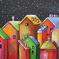 Starry Night In The Little City 1 by Janet  Telander