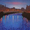 Starry Nights In Dublin Ha' Penny Bridge by John  Nolan
