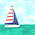 Stars And Strips Sailboat by Darice Machel McGuire