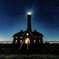Stars At The Fire Island Lighthouse Lit Up At Night by Alissa Beth Photography