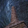 Startrails Over Kanza Monument In Kansas by Jason Keller