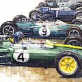 1963 Start British Gp  - Lotus  Brabham  Brm  Brabham by Yuriy Shevchuk