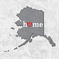 State Map Outline Alaska With Heart In Home by Elaine Plesser