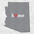 State Map Outline Arizona With Heart In Home by Elaine Plesser