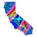 State Of California Map Rainbow Splash Fractal by Rose Santuci-Sofranko