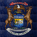 State Of Michigan Flag Recycled Vintage License Plate Art Version 1 by Design Turnpike