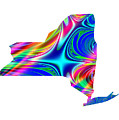 State Of New York Map Rainbow Splash Fractal by Rose Santuci-Sofranko