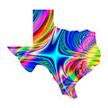 State Of Texas Map Rainbow Splash Fractal by Rose Santuci-Sofranko