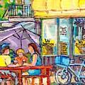 Station W Verdun Coffee Shop Paintings Wellington St Patio Scenes Canadian Art C Spandau Cityscenes  by Carole Spandau