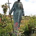 Statue Of Father Serra At Carmel Mission by Carol Groenen