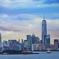 Statue Of Liberty And Manhattan by Darryl Brooks