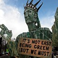Statue Of Liberty Street Puppet At Political Demonstration by Ben Schumin