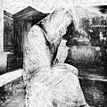 Statue Of Weeping Woman, Lafayette Cemetery, New Orleans In Black And White Sketch by Kay Brewer
