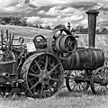 Steam Powered Tractor - Paint Bw by Steve Harrington