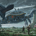 Steampunk Giant Crab Attacks Lighthouse by Martin Davey