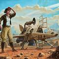 Steampunk Girl With Spaceship by Martin Davey